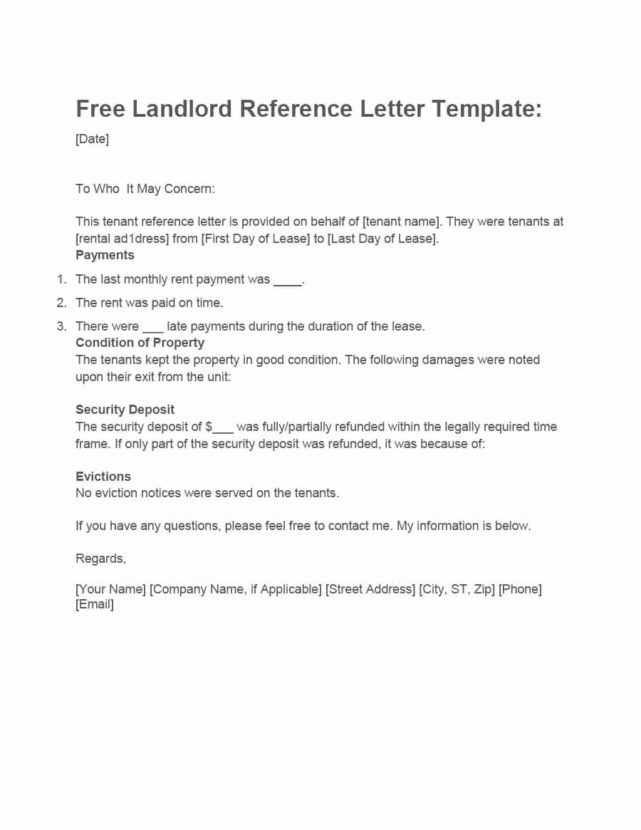 Rent Reference Letter Sample Elegant 40 Landlord Reference Letters & form Samples Template Lab