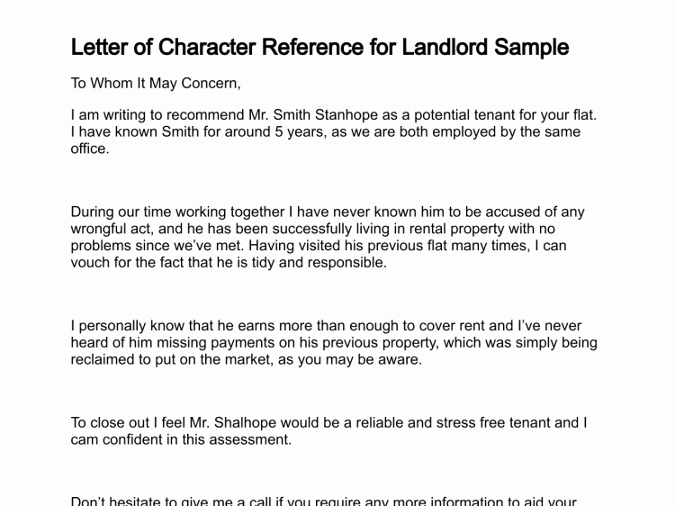Rent Reference Letter Sample Inspirational Professional Character Reference Letter