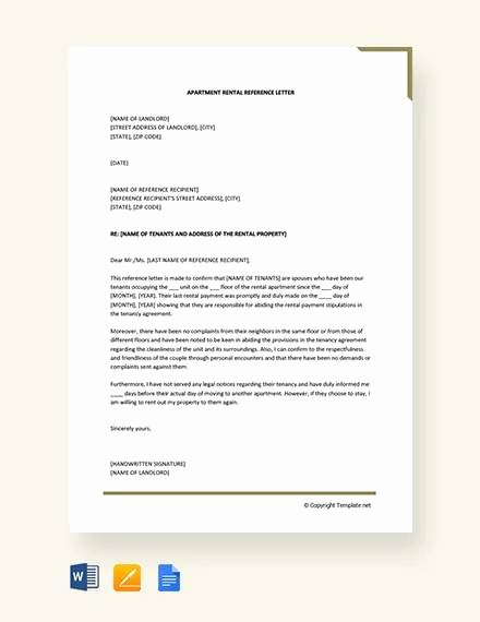 Rent Reference Letter Sample Inspirational Sample Rental Reference Letter 8 Examples In Pdf Word