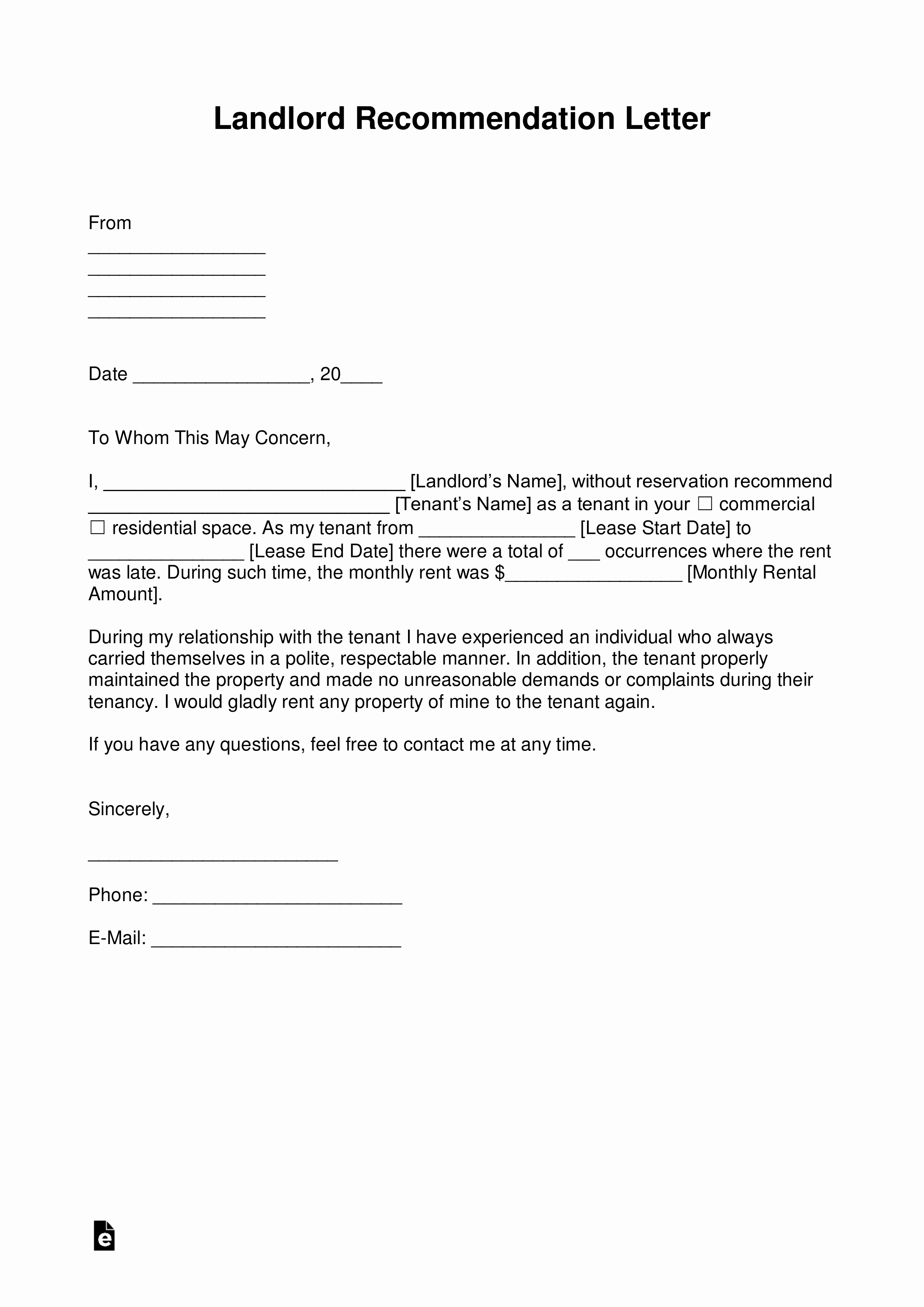 Rent Reference Letter Sample Lovely Free Landlord Re Mendation Letter for A Tenant with