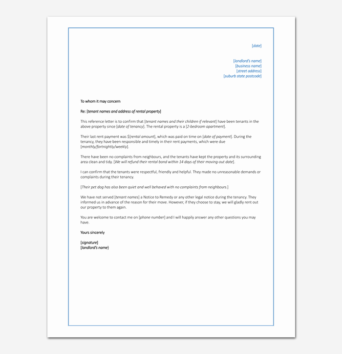Rent Reference Letter Sample Luxury Rental Reference Letter Template 12 Samples & Examples