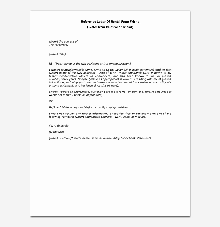 Rent Reference Letter Sample Unique Rental Reference Letter How to Write with format and