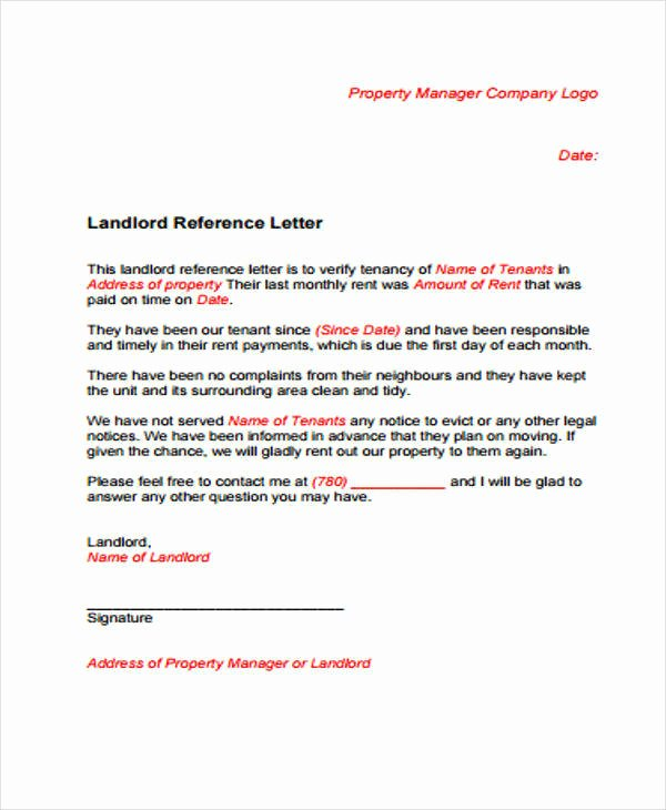 Rent Reference Letter Sample Unique Sample Rental Reference Letter 8 Examples In Pdf Word