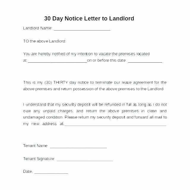 Rental 30 Day Notice Template Beautiful Landlord Notice to Vacate Premises – Gaboweis