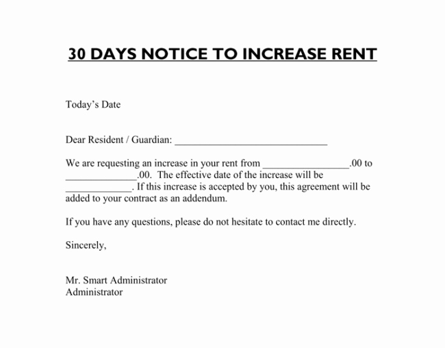 Rental 30 Day Notice Template Best Of Rent Increase Letter 7 Samples In Word Pdf format