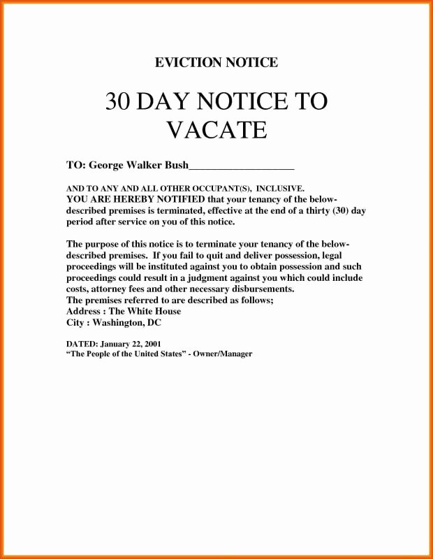 Rental 30 Day Notice Template Fresh 30 Day Eviction Notice Template