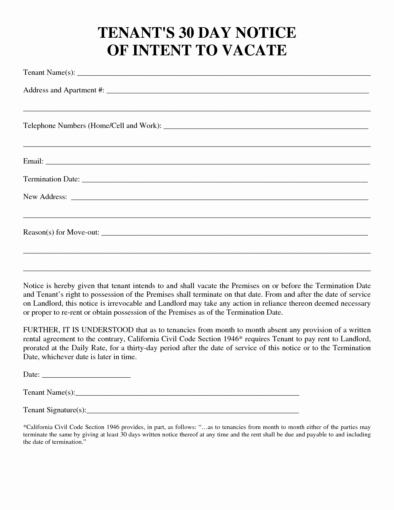 Rental 30 Day Notice Template Fresh 30 Day Notice to Vacate Template