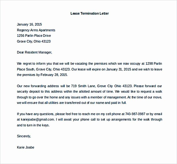 Rental Agreement Termination Letter Awesome 9 Lease Termination Letter Template