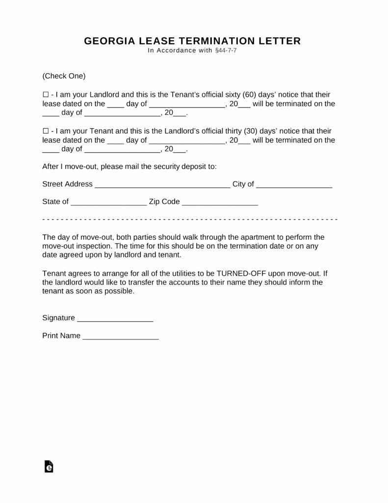 Rental Agreement Termination Letter Beautiful Free Georgia Lease Termination Letter form 30 Days Pdf