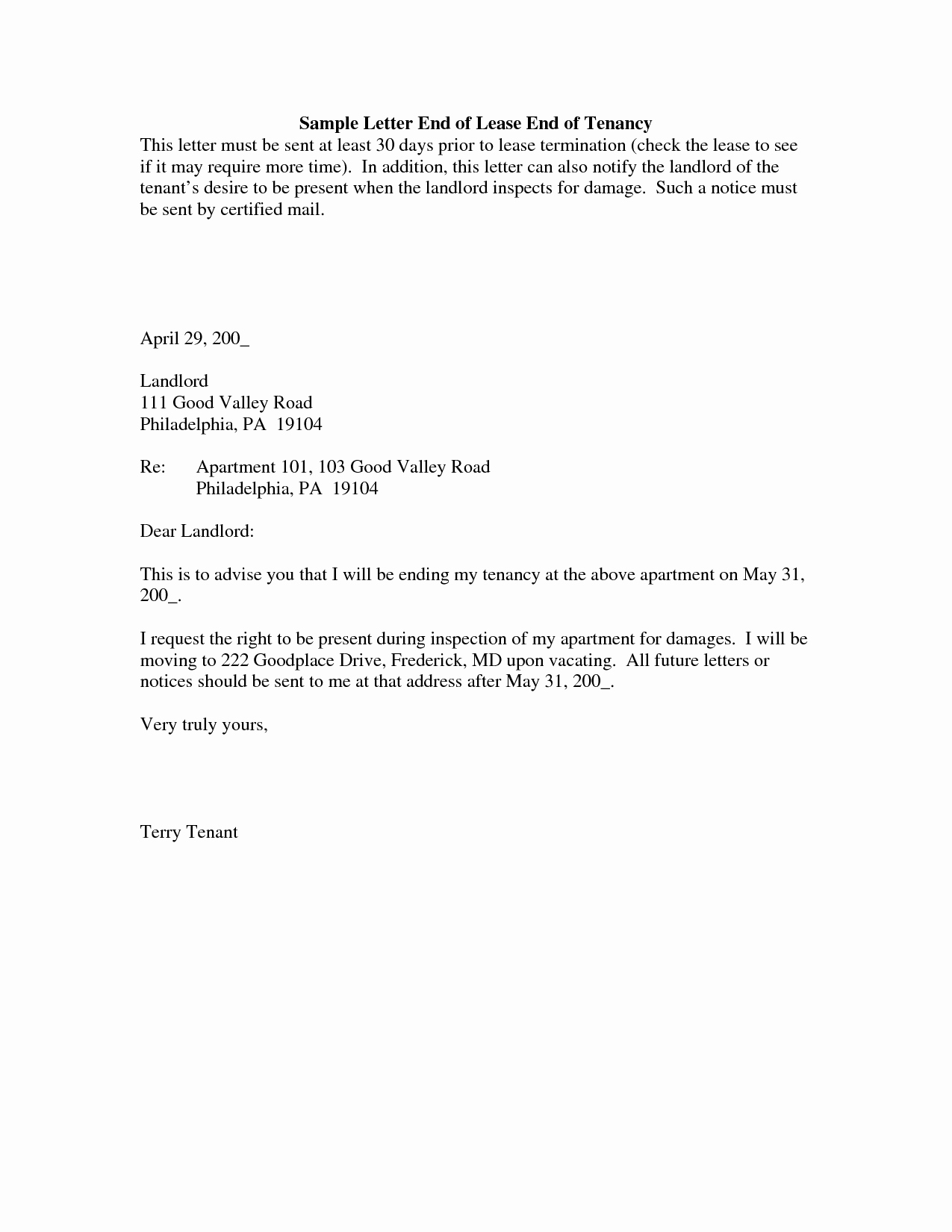 Rental Agreement Termination Letter Fresh Lease Termination Letter