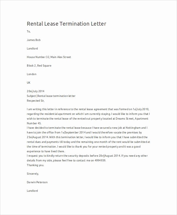 Rental Agreement Termination Letter Luxury Sample Termination Letter 9 Examples In Word Pdf