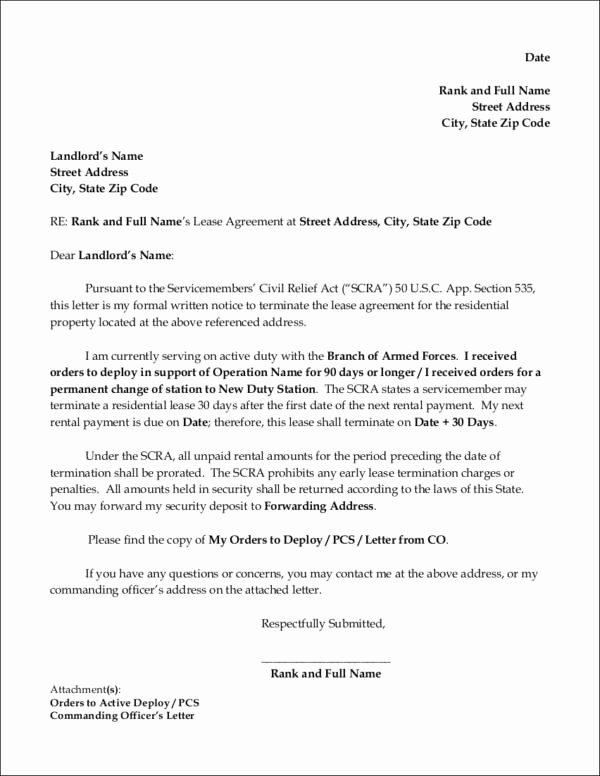 Rental Agreement Termination Letter Unique Free 16 Lease Termination Letter format Samples