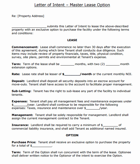Rental Letter Of Intent Fresh 4 Letter Of Intent to Lease Templates Word Excel Templates