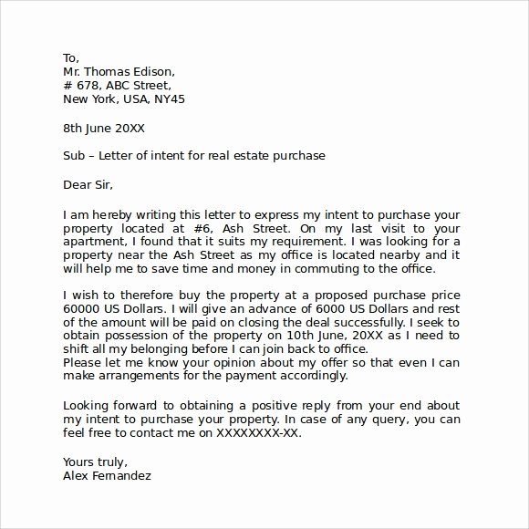 Rental Letter Of Intent Inspirational Letter Of Intent Real Estate 9 Download Free Documents