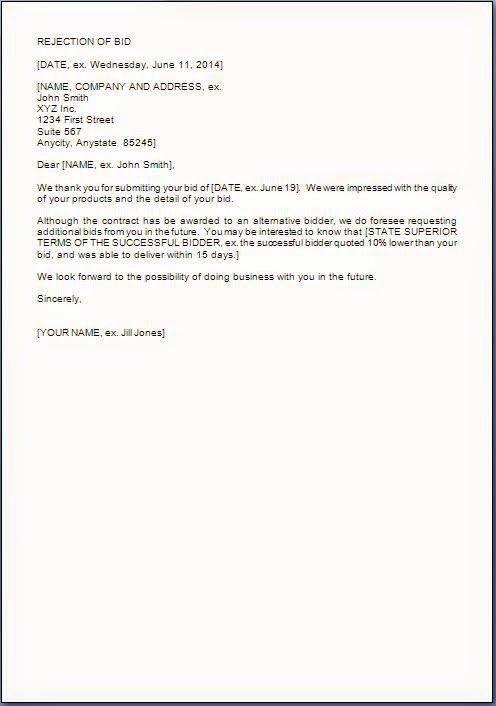 Request for Proposal Rejection Letter Elegant Bid or Proposal Rejection Letter to A Pany