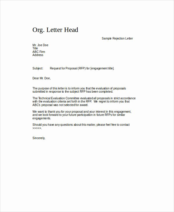 Request for Proposal Rejection Letter Fresh Sample Proposal Rejection Letter 6 Examples In Word Pdf