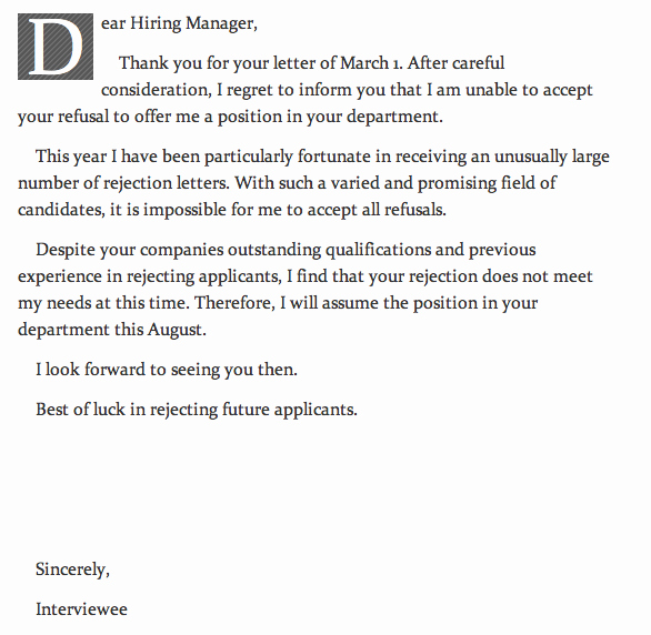 Request for Proposal Rejection Letter Inspirational Rejection Letter Rejection Letter the Poke