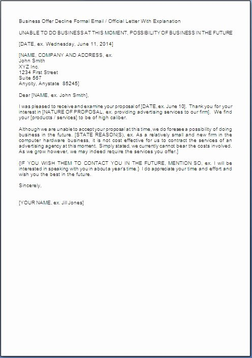 Request for Proposal Rejection Letter Lovely Business Proposal Rejection Letter