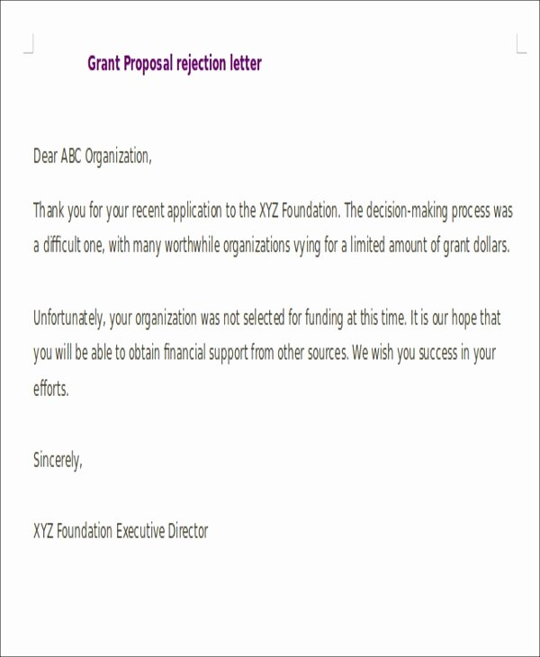 Request for Proposal Rejection Letter Luxury Proposal Rejection Letter 5 Free Sample Example format
