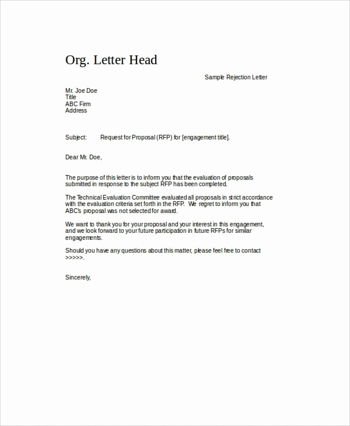 Request for Proposal Rejection Letter New 9 Rfp Rejection Letter