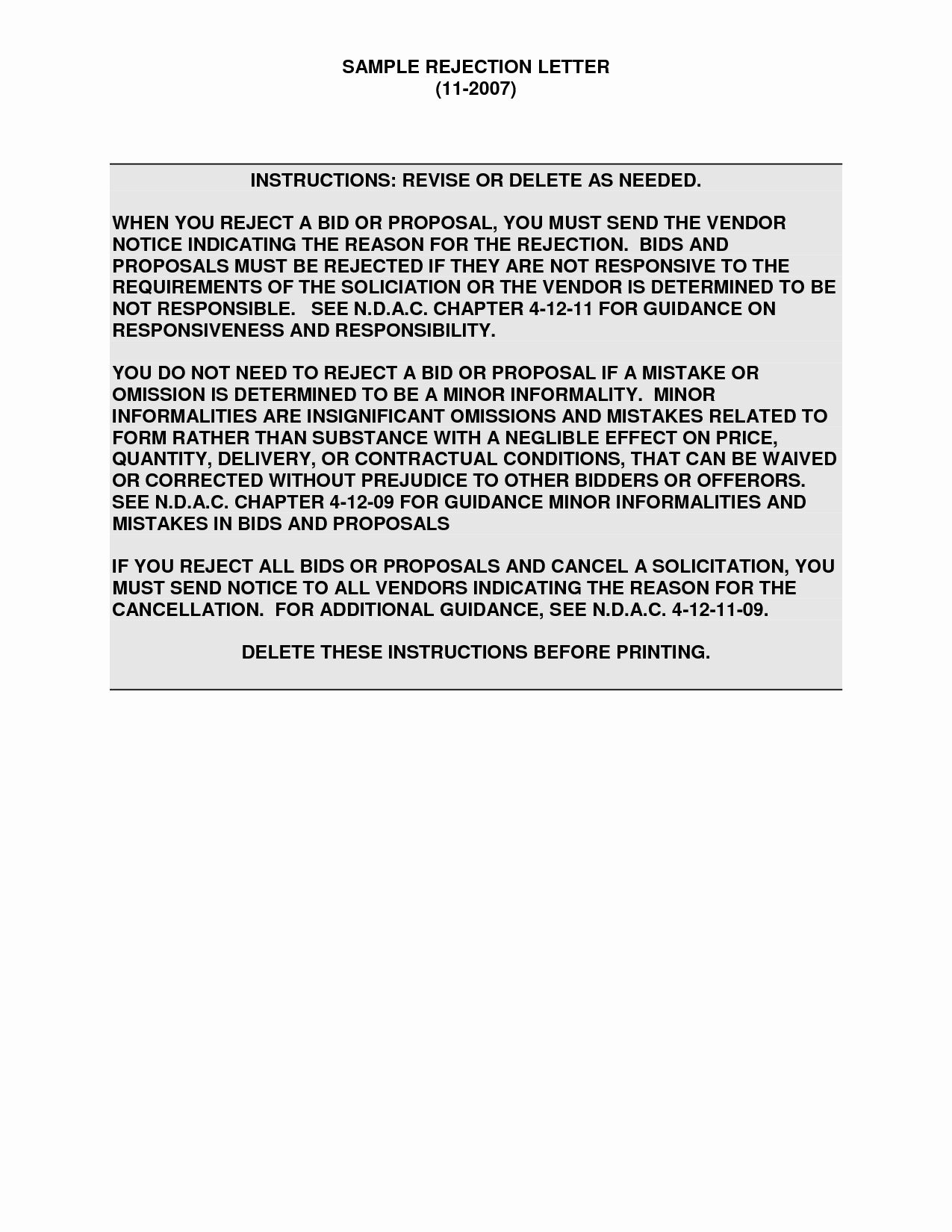 Request for Proposal Rejection Letter Unique Best S Of Vendor Proposal Rejection Letter Rfp