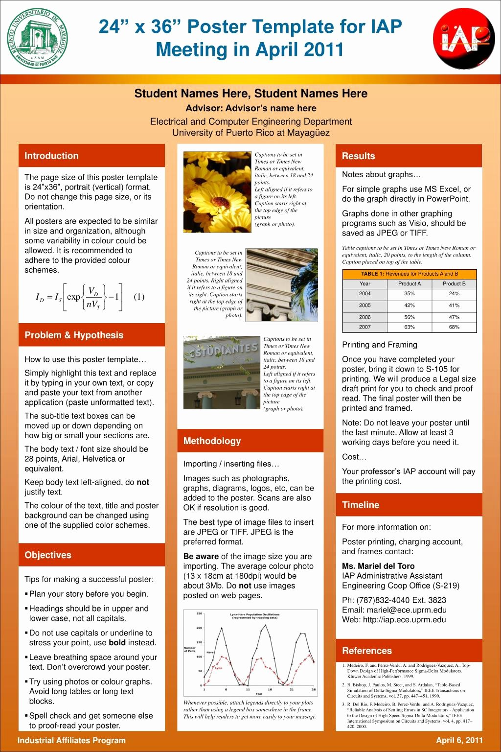 "Research Poster Templates Free Inspirational Ppt 24"" X 36"" Poster Template for Iap Meeting In April"