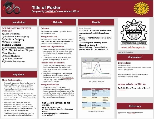 Research Project Poster Template Luxury Template for A Poster Presentation