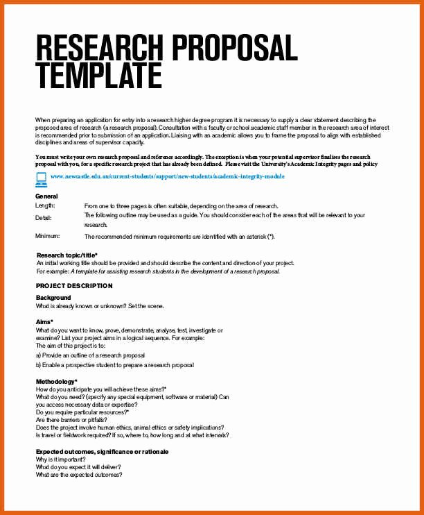 Research Proposal Outline Example Fresh Research Proposal Template
