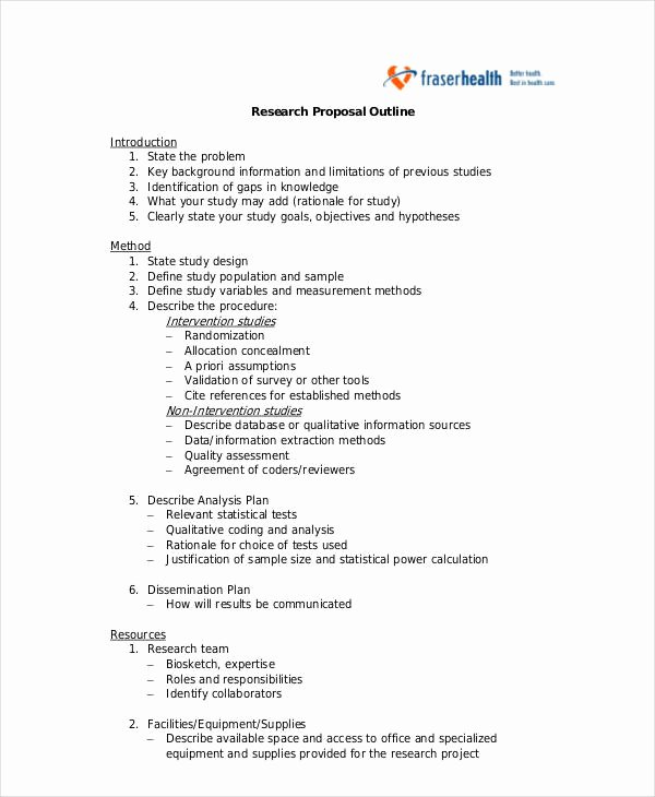 Research Proposal Outline Example Luxury 11 Research Proposal Outline Templates Pdf