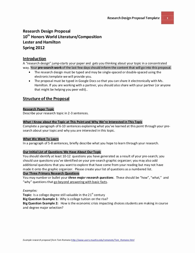Research Proposal Outline Example Unique Official Research Design Proposal Template and Guidelines