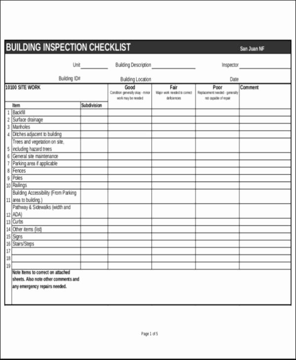 Residential Electrical Inspection Checklist Template Best Of Free 24 Inspection Checklist Samples & Templates In Pdf