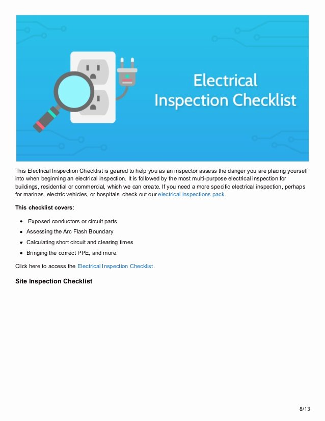 Residential Electrical Inspection Checklist Template Fresh 12 Inspection Checklists to Maximize Safety In the Workplace