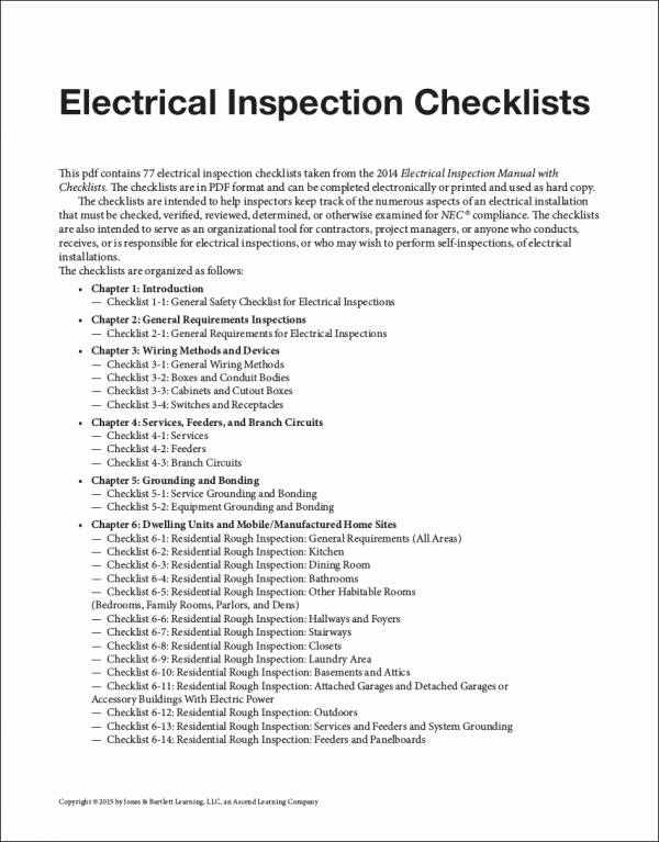 Residential Electrical Inspection Checklist Template Fresh Free 24 Inspection Checklist Samples & Templates In Pdf