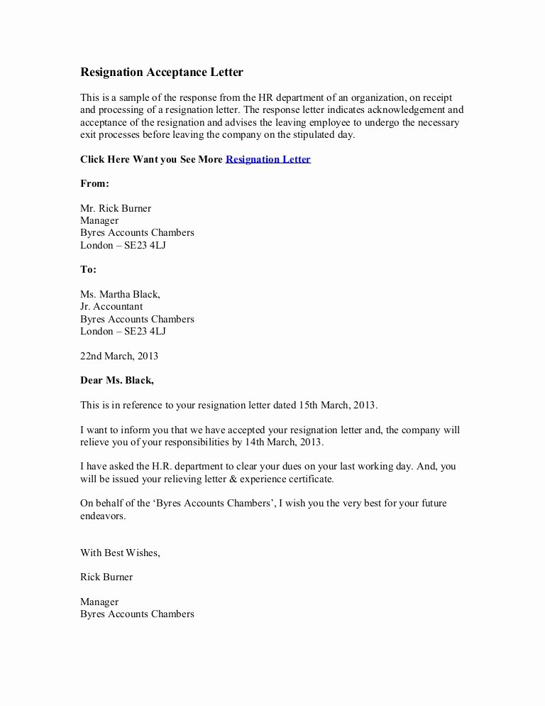 Resign Letter Sample Awesome Resignation Acceptance Letter