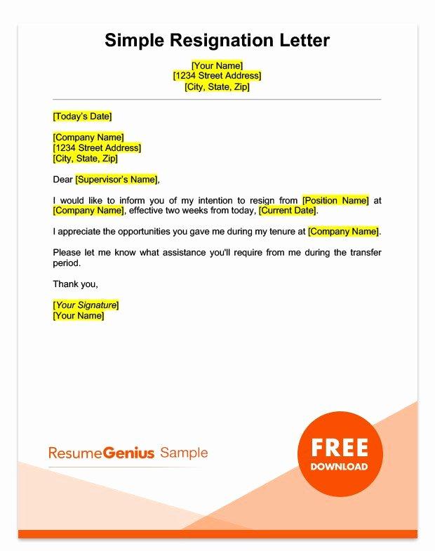 Resign Letter Sample Elegant Two Weeks Notice Letter Sample Free Download