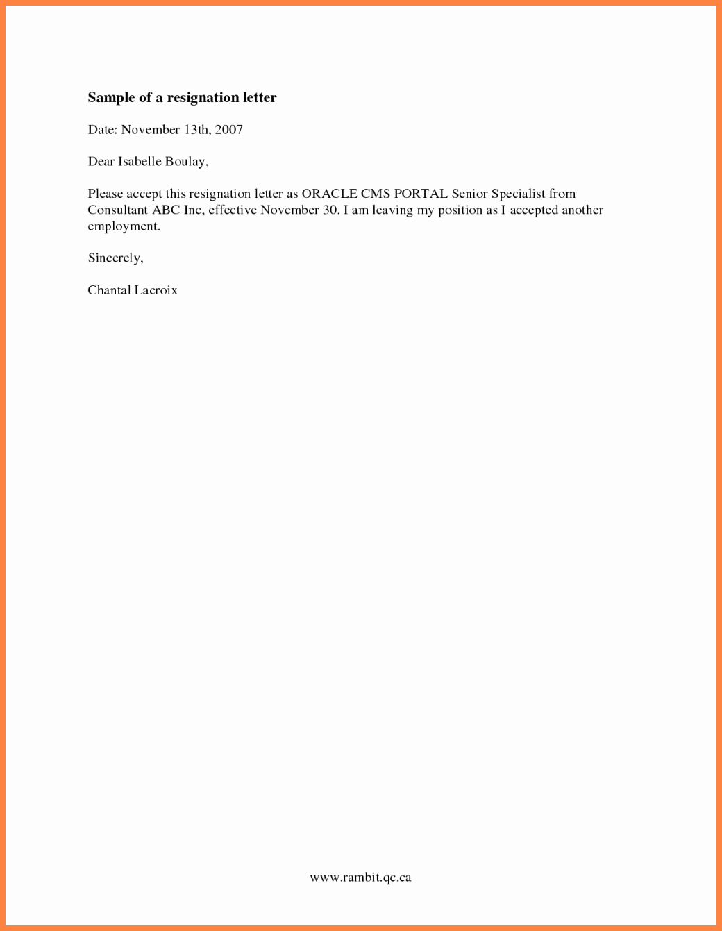 7 resignation letter with short notice
