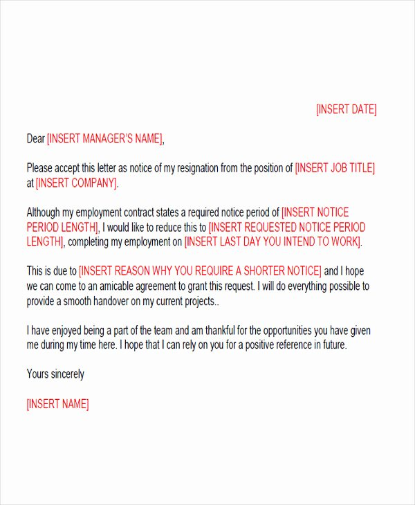 Resign Letter Short Notice Beautiful 65 Sample Resignation Letters