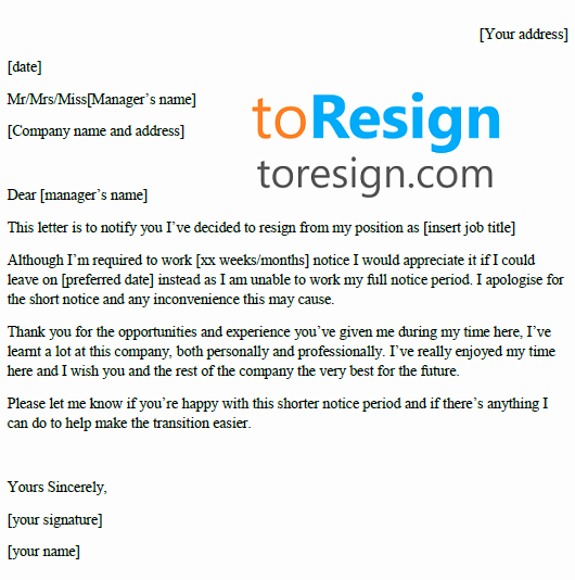 Resign Letter Short Notice Best Of Short Notice Resignation Letter Example toresign