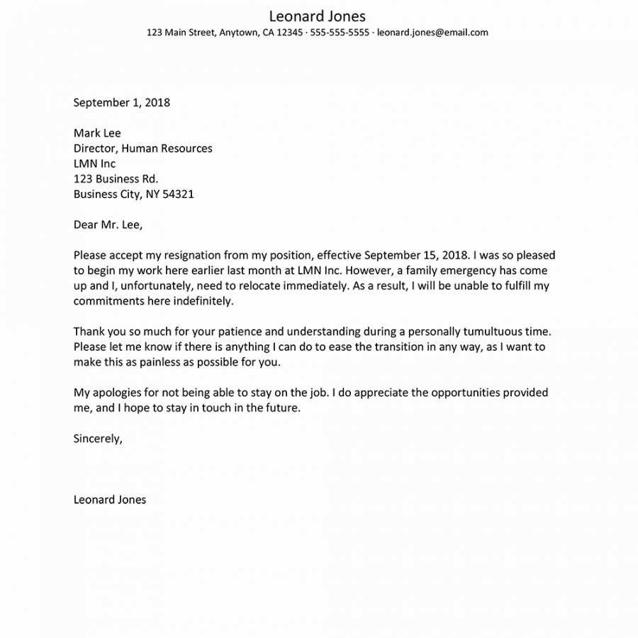 Resign Letter Short Notice Fresh Resignation Letter after Short Employment