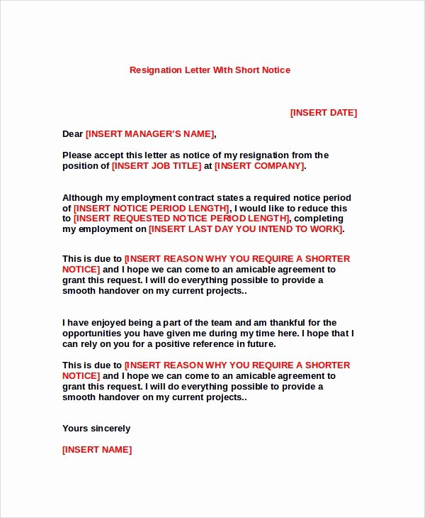Resign Letter Short Notice Fresh Sample Resignation Letter 8 Examples In Pdf Word