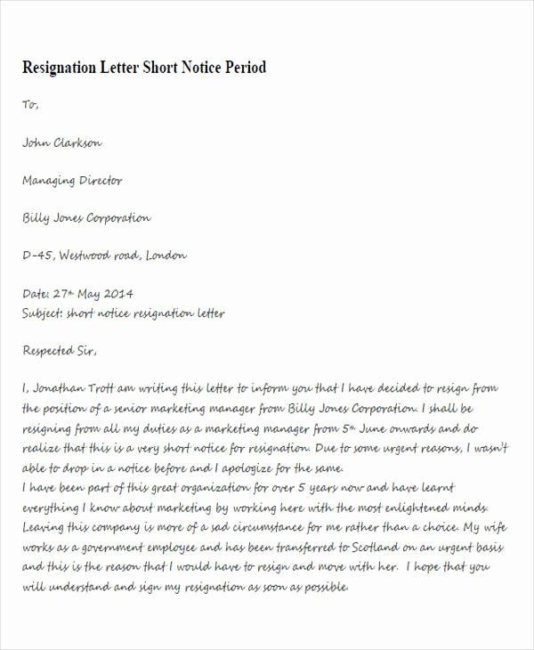 Resign Letter Short Notice Lovely 33 Resignation Letters Samples & Templates In Pdf