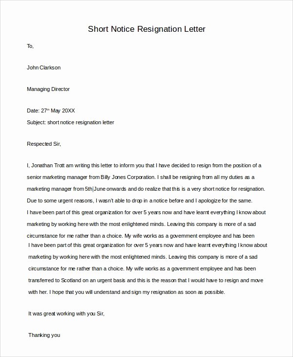Resign Letter Short Notice Lovely Sample Resignation Letter 10 Examples In Pdf Word