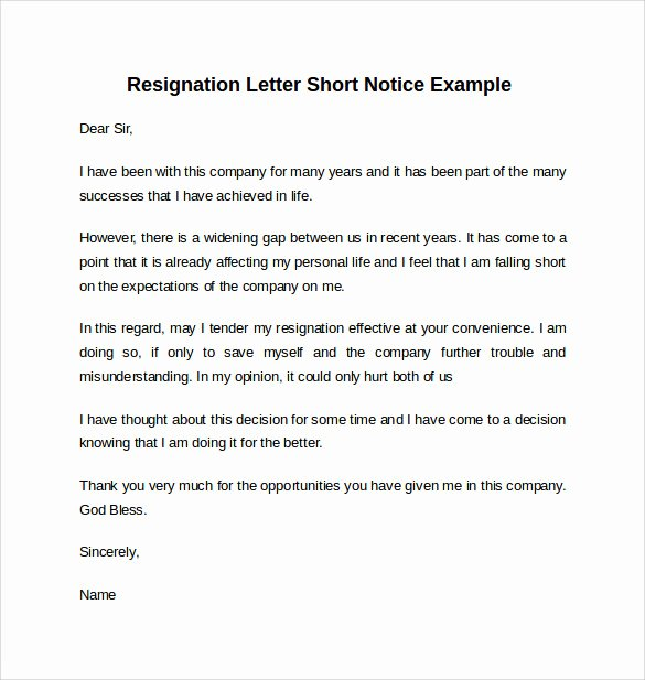 Resign Letter Short Notice Luxury Sample Resignation Letter Short Notice 6 Free Documents