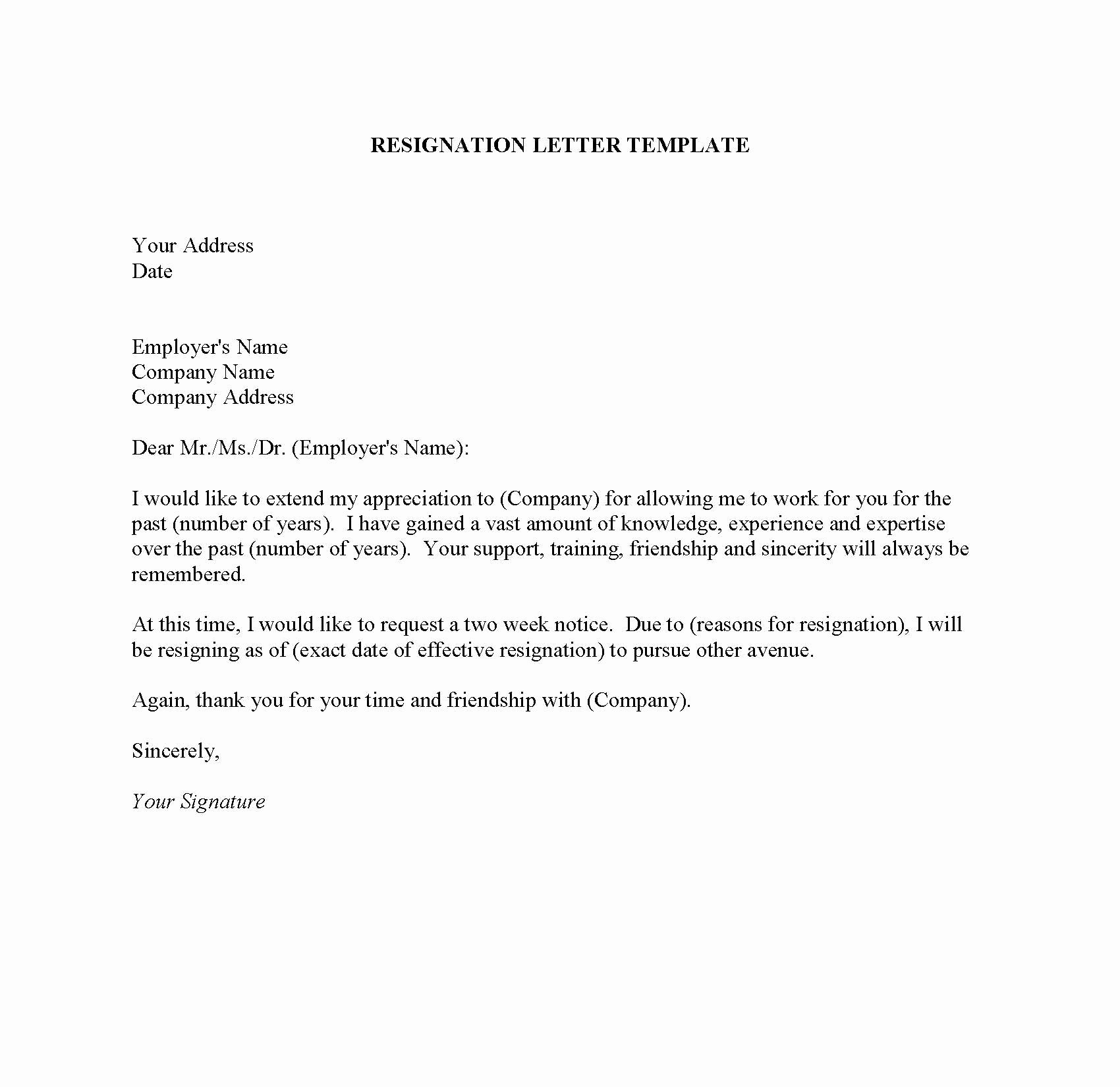 Resignation 2 Weeks Notice Best Of Resignation Letter Sample Due to the Travel – Word