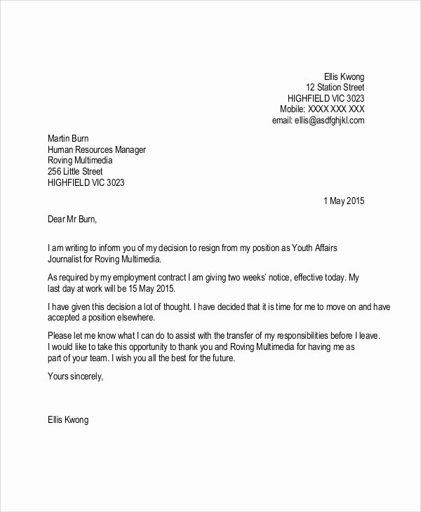 Resignation 2 Weeks Notice Fresh Sample Resignation Letter with 2 Week Notice 6 Examples