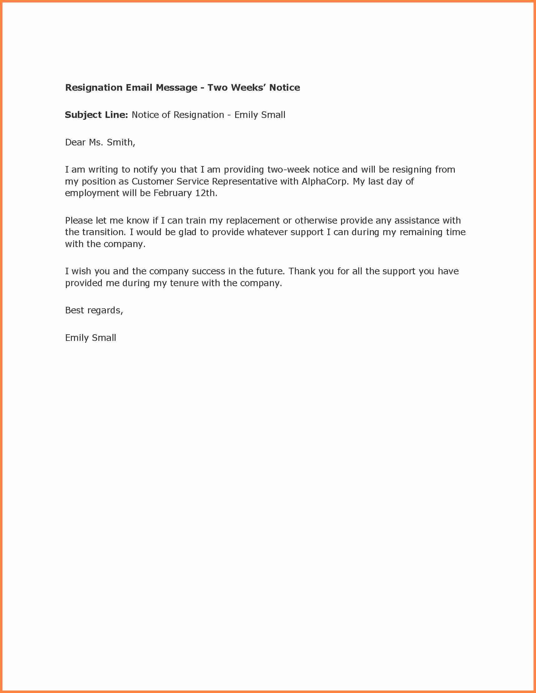 Resignation 2 Weeks Notice Inspirational 5 Resignation Letter 2 Week Notice Samples