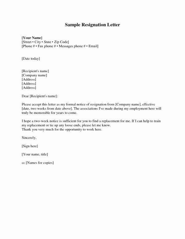 Resignation 2 Weeks Notice Inspirational Two Weeks Notice Resignation Letter Examples Pdf