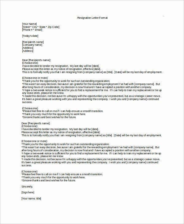 Resignation Letter 2 Week Notice Beautiful Sample 2 Week Notice Letter 8 Examples In Word Pdf