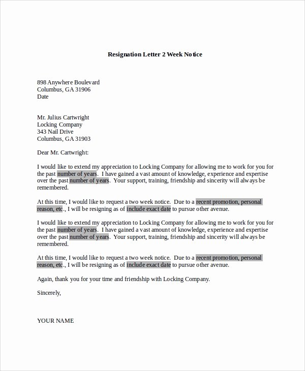 Resignation Letter 2 Week Notice Beautiful Sample Resignation Letter 8 Examples In Pdf Word