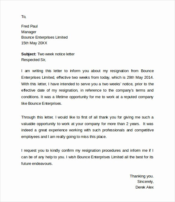 Resignation Letter 2 Week Notice Beautiful Sample Resignation Letters 2 Week Notice 8 Free